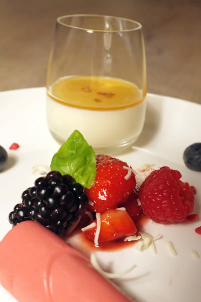 Panna Cotta met rood Fruit